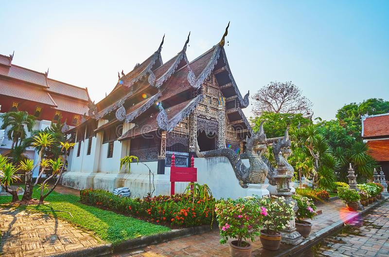 Lanna-Art Bhuridatto Viharn, Wat Chedi Luang, Chiang Mai, Thailand lizenzfreie stockbilder