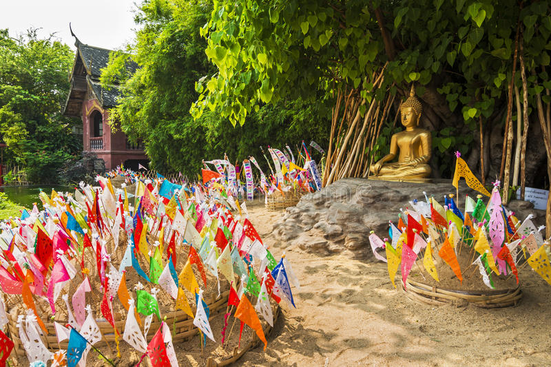 Lanna Songkran Festival at Wat Phan Tao ,chiang mai stock photography