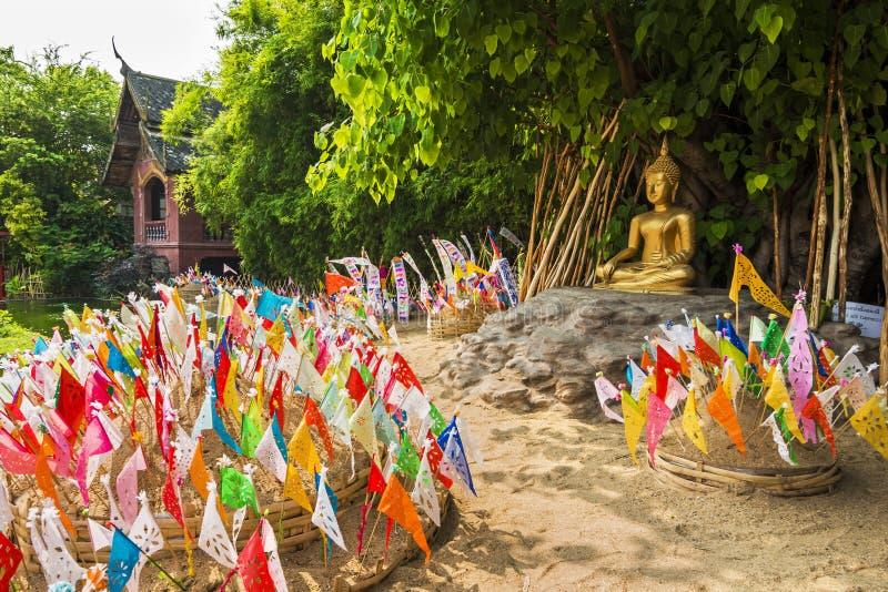 Lanna Songkran festiwal przy Watem Phan Tao, Chiang mai fotografia stock