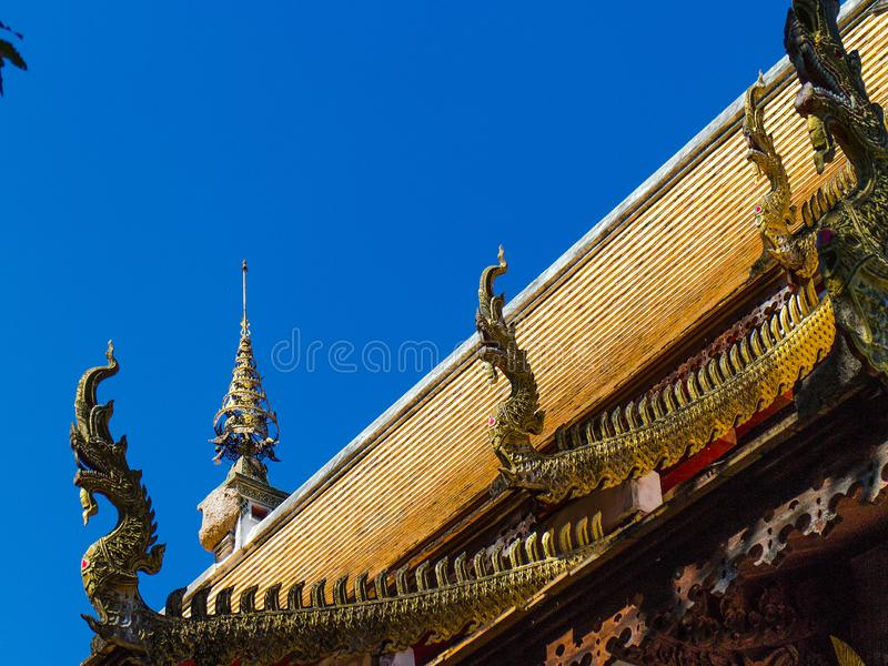 Lanna Thai`s Architecture_NAKA eaves details. used in signisicant building. Roof Form Thai Architecture Details stock photo