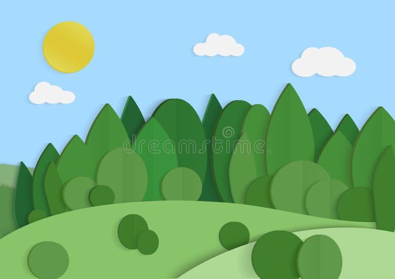 Lansacape del fondo della foresta di verde di Eco Ecologia e conservazione dell'ambiente Vettore di carta creativo di concetto de illustrazione vettoriale