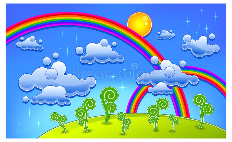lanscape彩虹 向量例证