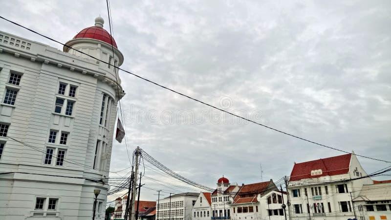 Lanscape района центра города старого города Джакарты с голландскими колониальными стилем или концепцией здания стоковые изображения