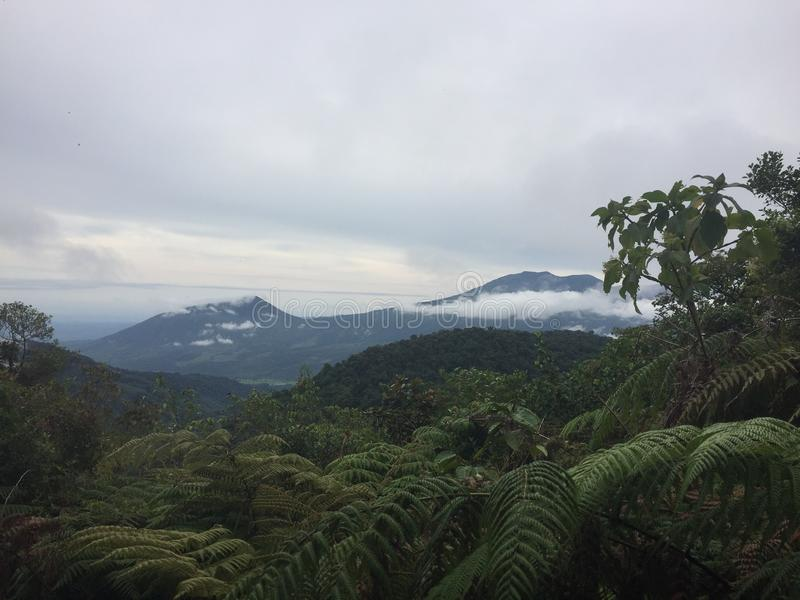 Lanscape of Costarrican Mountains. Breathtaking scene of a rainforest. royalty free stock image