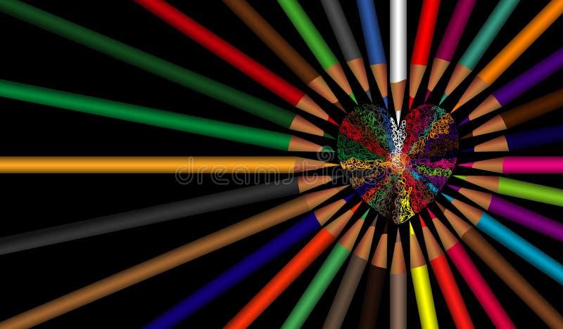 Lanscape de achtergrondhartliefde kleurt potlood met geïsoleerde zwarte vector illustratie