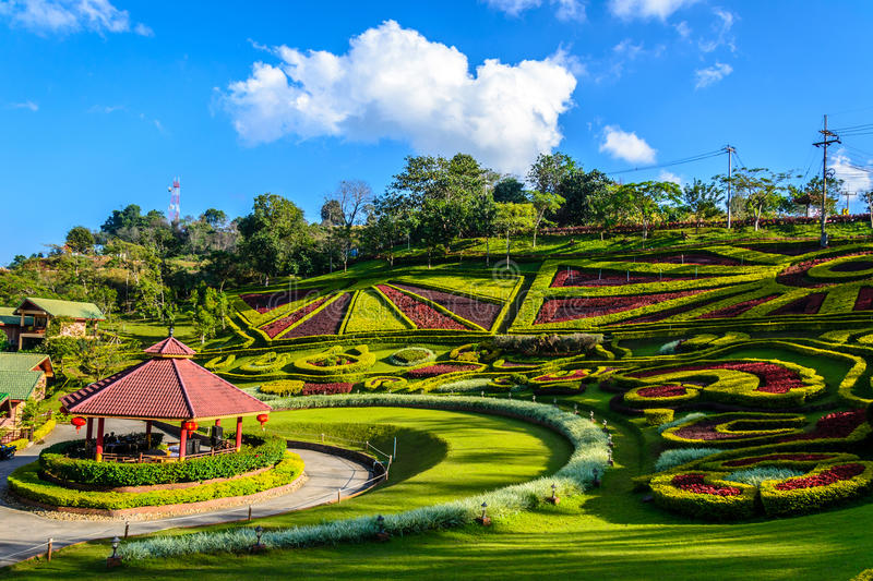 Lanscape des Gartenparks an doi mae salong stockfoto