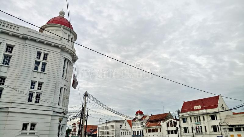Lanscape of Downtown Area of Old Jakarta City with Dutch Colonial Building Style or Concept stock images