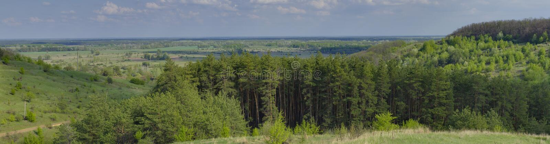 Lanscape panorámico cerca de la ciudad de Poltava, Ucrania fotos de archivo