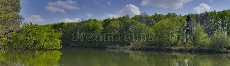 Lanscape panorámico en un lago cerca del pueblo de Dikanka foto de archivo