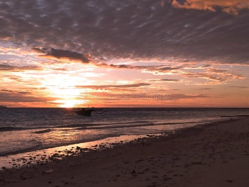 Lanscape piękna plaża, zmierzchu krótkopęd fotografia stock