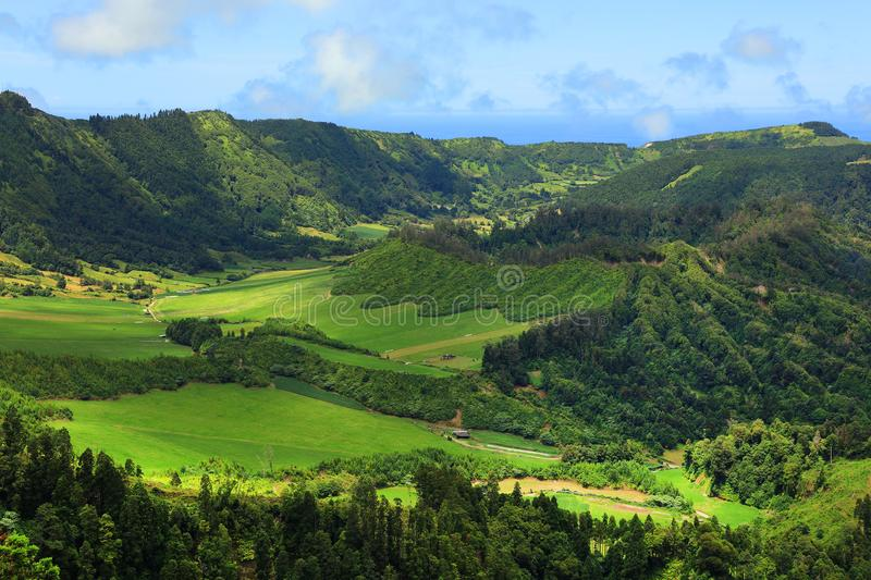 Lanscape of Sete Citades in Sao Miguel Island stock photo