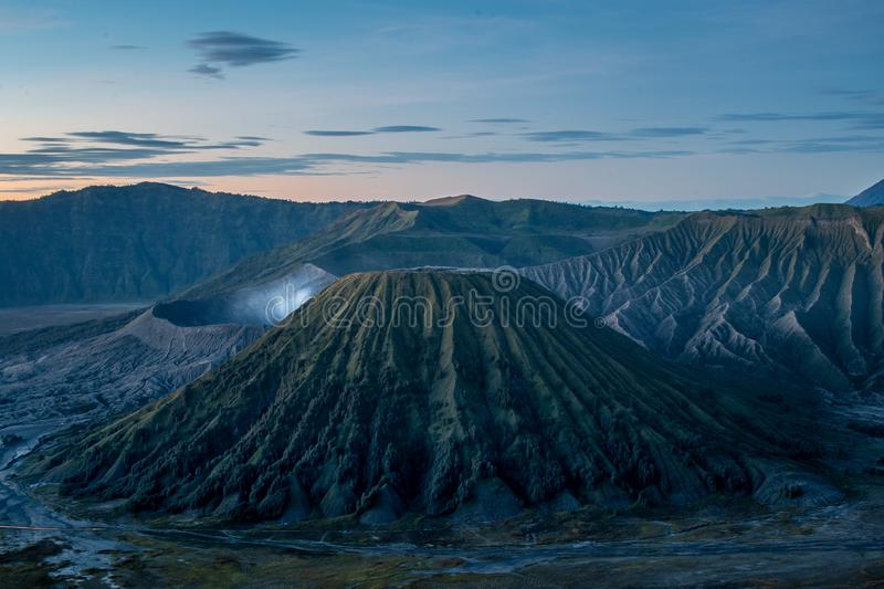 Lanscape view of gunung batok at bromo tengger semeru national park taken from love hill sunrise point stock images