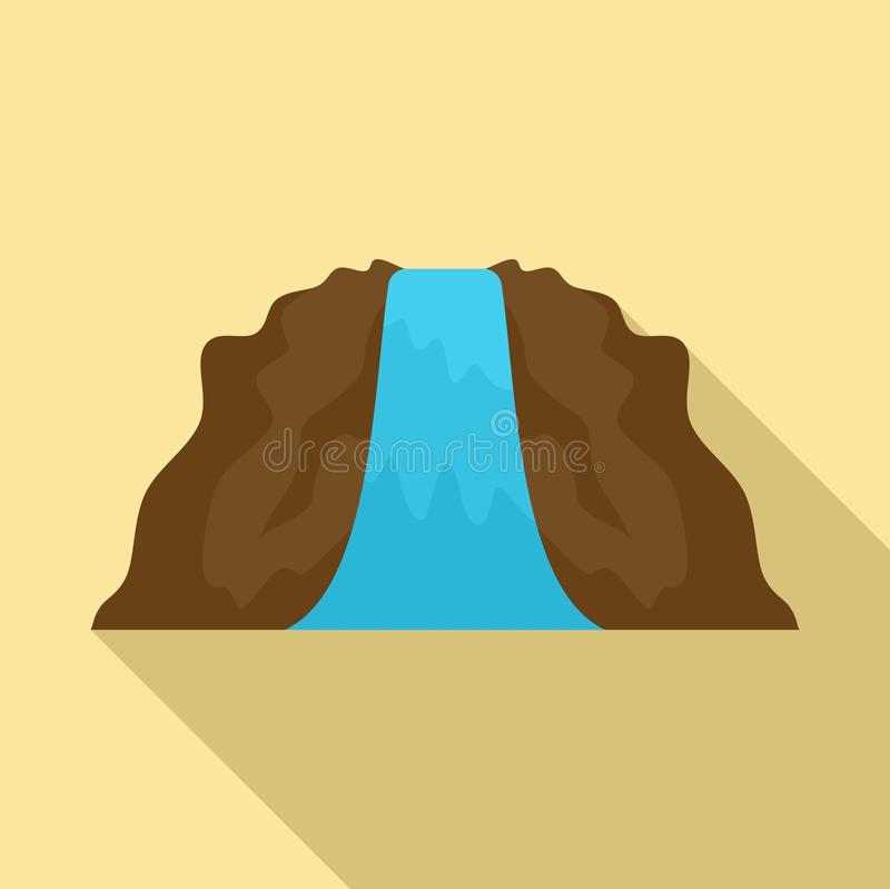 Lanscape waterfall icon, flat style. Lanscape waterfall icon. Flat illustration of lanscape waterfall vector icon for web design royalty free illustration