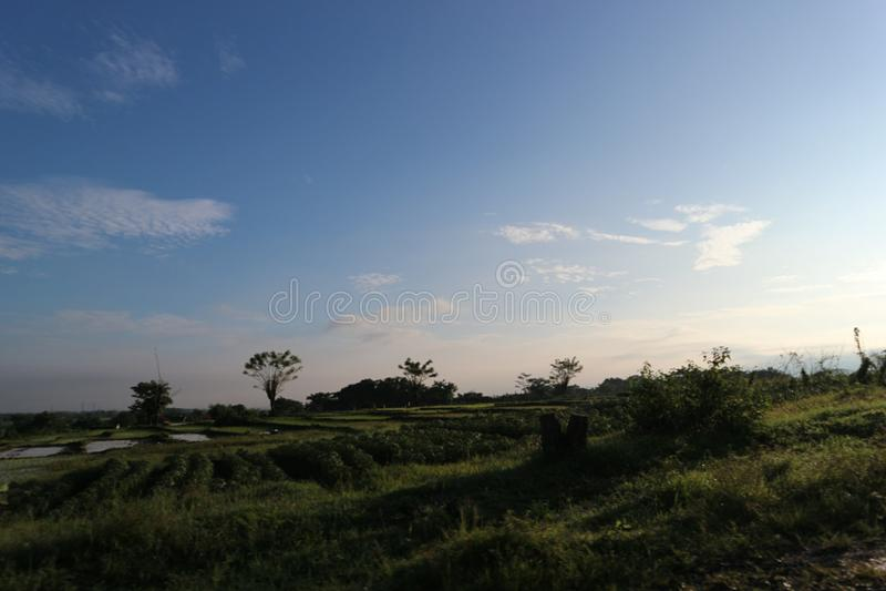 Lanscapeszonsopgang in Ciperna Cirebon royalty-vrije stock foto
