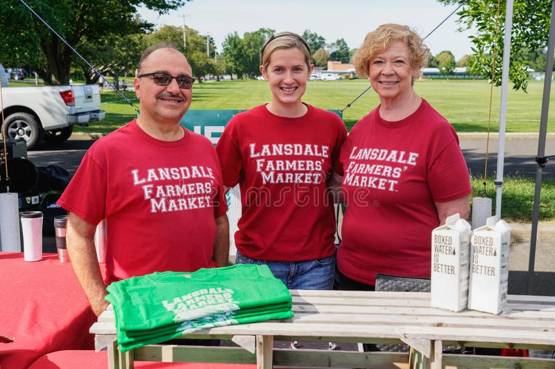 Information booth at the Lansdale Farmers Market. Lansdale, PA - Aug. 10, 2019: Information booth at the Lansdale Farmers Market which is held Saturdays 9AM to stock photo
