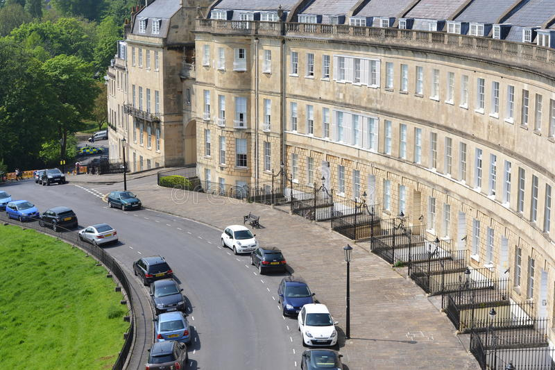 Lansdown月牙看法在巴恩城市在萨默塞特英国 免版税库存图片