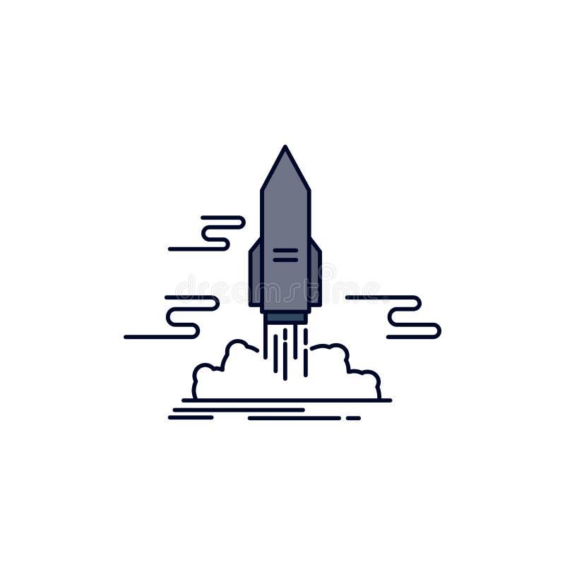 lansera, publicera, appen, anslutningen, för färgsymbol för utrymme plan vektor stock illustrationer