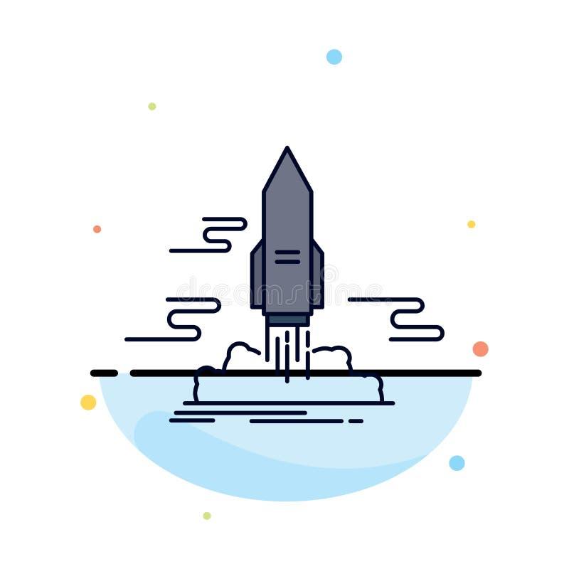 lansera, publicera, appen, anslutningen, för färgsymbol för utrymme plan vektor vektor illustrationer