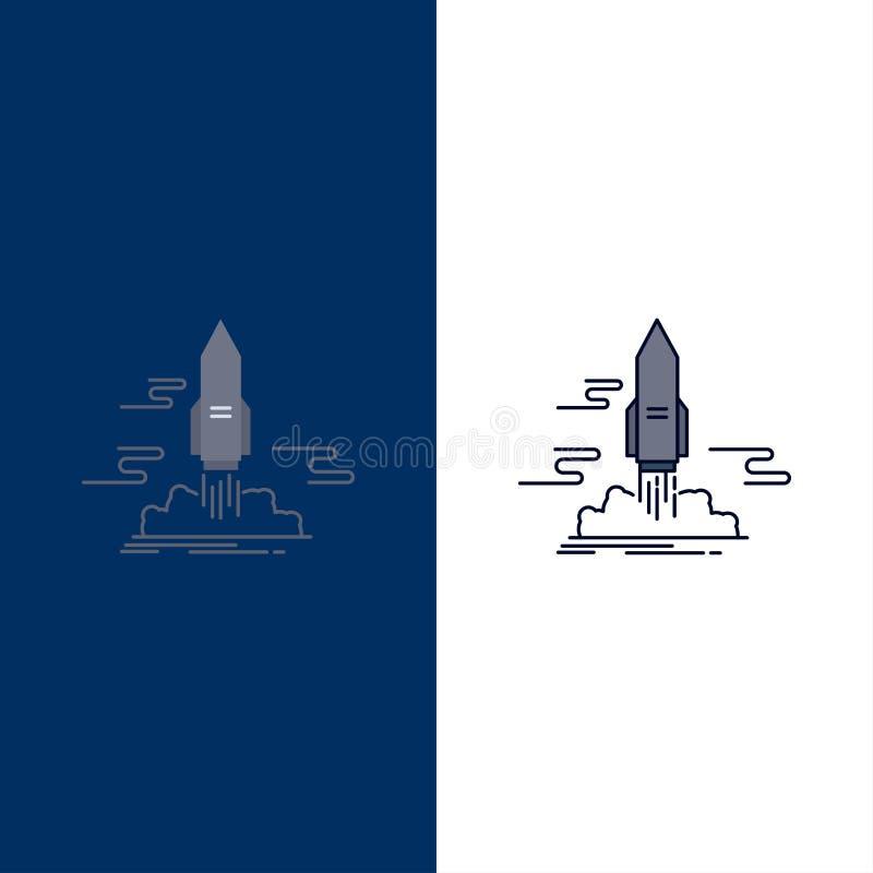 lansera, publicera, appen, anslutningen, för färgsymbol för utrymme plan vektor royaltyfri illustrationer