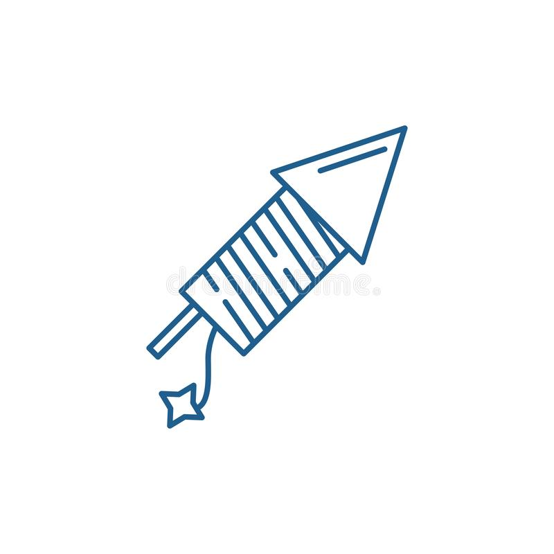Lanserande fyrverkerier fodrar symbolsbegrepp Lanserande plant vektorsymbol f?r fyrverkerier, tecken, ?versiktsillustration stock illustrationer