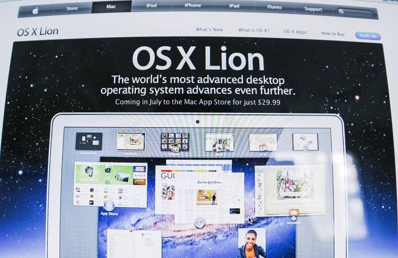 Lansering för programvara för operativsystem för lejon för Apple OS X arkivfoto