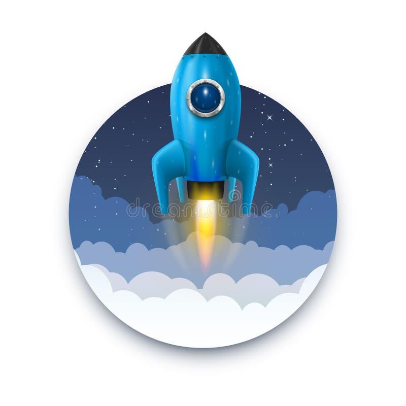 Lansering för utrymmeraket, Startup idérik idé, raketbakgrund, vektorillustration vektor illustrationer
