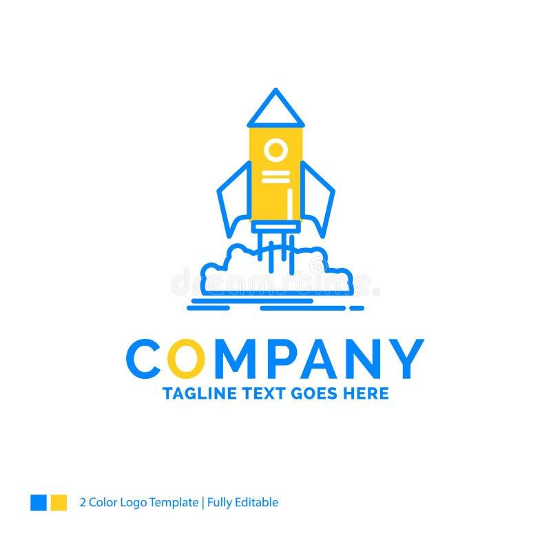 lansering start, skepp, anslutning, blå gul affärsjournal för beskickning vektor illustrationer