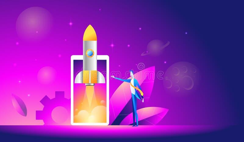 Lanseringen av en mobil applikation är en isometrisk illustration startraket eller rymdskepp över mobiltelefonen royaltyfri illustrationer