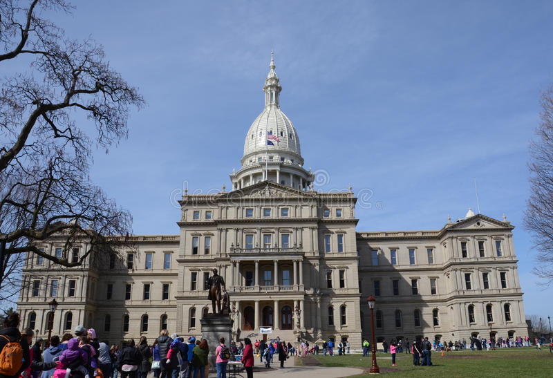 Lansing capitol front view with easter bunny line royalty free stock photos