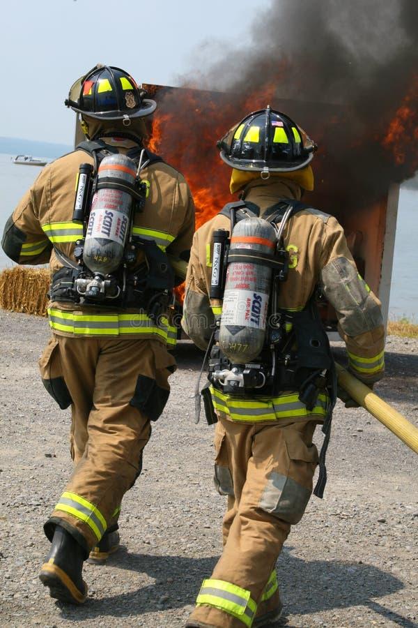 Lansing Firemen alla dimostrazione del fuoco fotografie stock