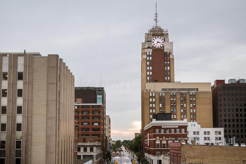 Lansing Michigan Cityscape on a Rainy Day. Lansing, the Michigan State Capital, cityscape of downtown with the Boji Tower stock photography