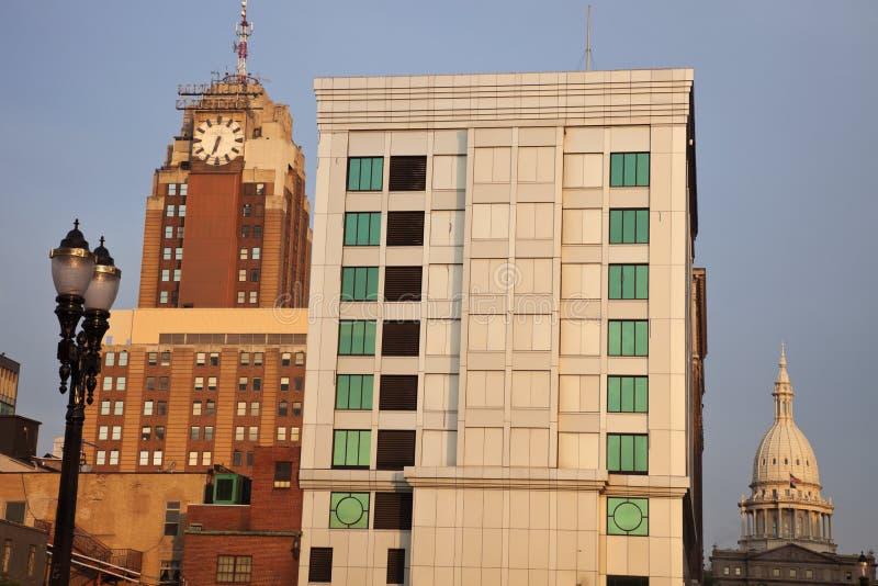 Lansing Michigan på soluppgången royaltyfria bilder
