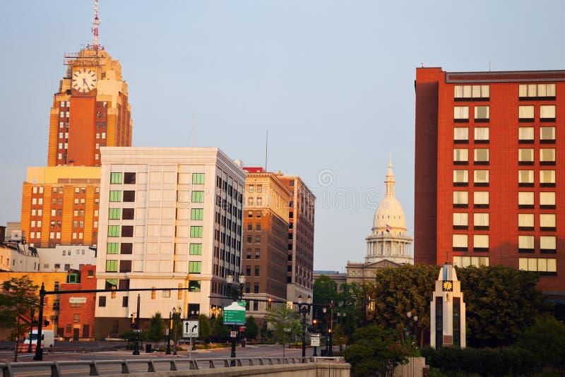 Lansing Michigan på soluppgången royaltyfri foto