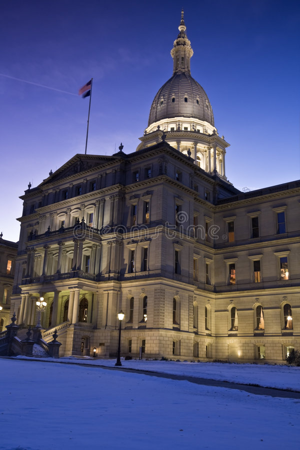 Lansing, Michigan - State Capitol. State Capitol of Michigan in Lansing evening time stock images