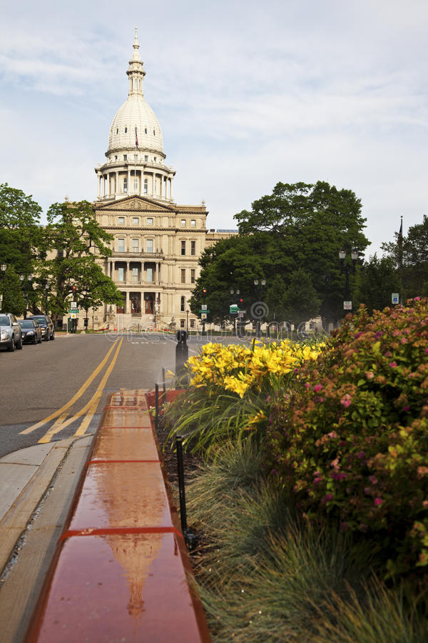 Lansing, Michigan - State Capitol Building. At sunrise stock photography