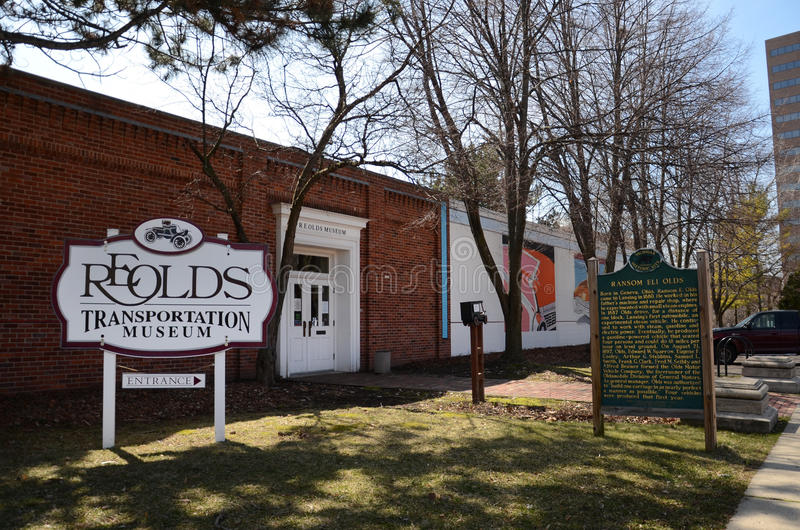 Lansing Olds museum front. LANSING, MI - MARCH 27: Lansing's Olds Transportation Museum, shown on March 27, 2016, is one of the top-rated automotive royalty free stock image