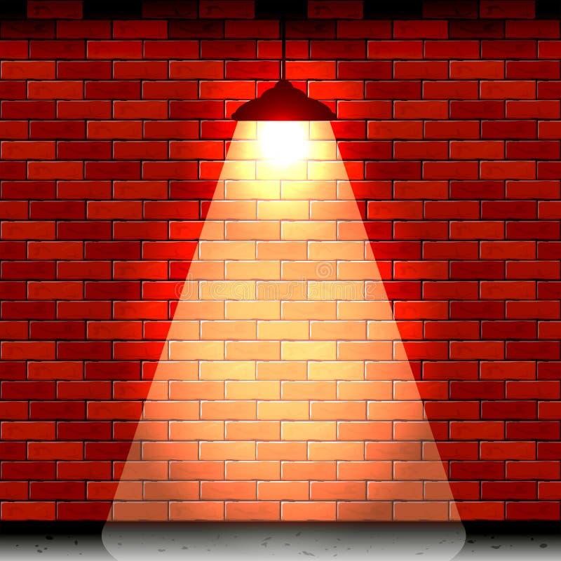 Lantaarn op bakstenen muur stock illustratie