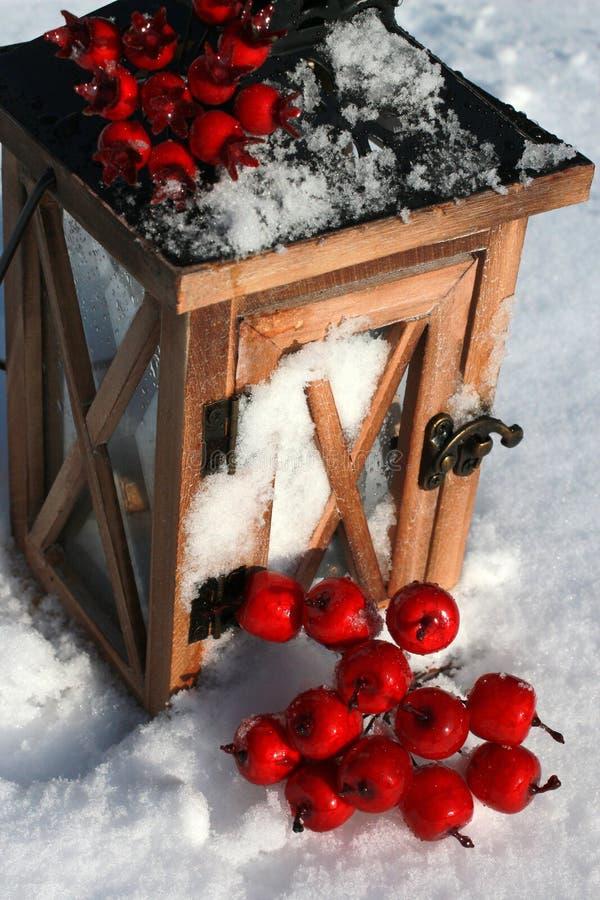 Lantaarn in Sneeuw royalty-vrije stock foto
