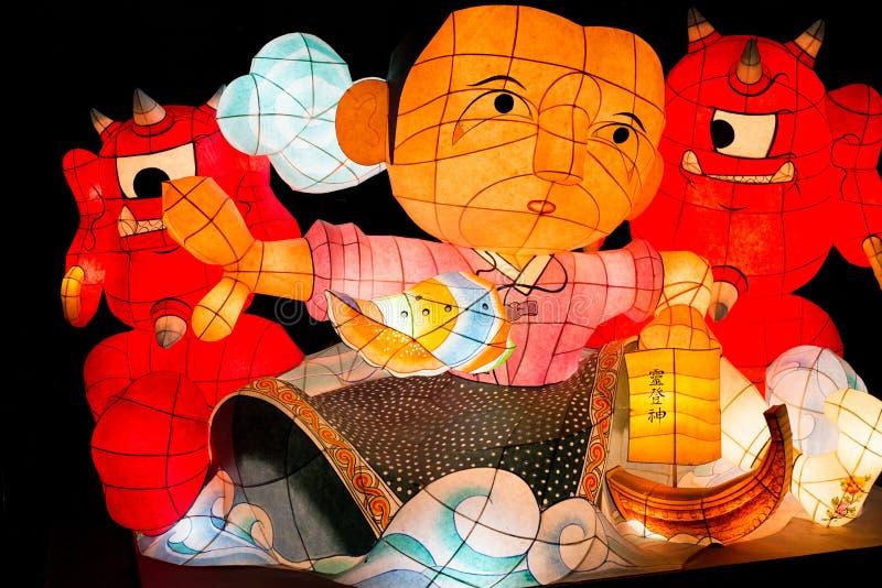 Lantaarnfestival, Seoel, document lantaarnkarakters over Zwarte Achtergrond royalty-vrije stock afbeeldingen