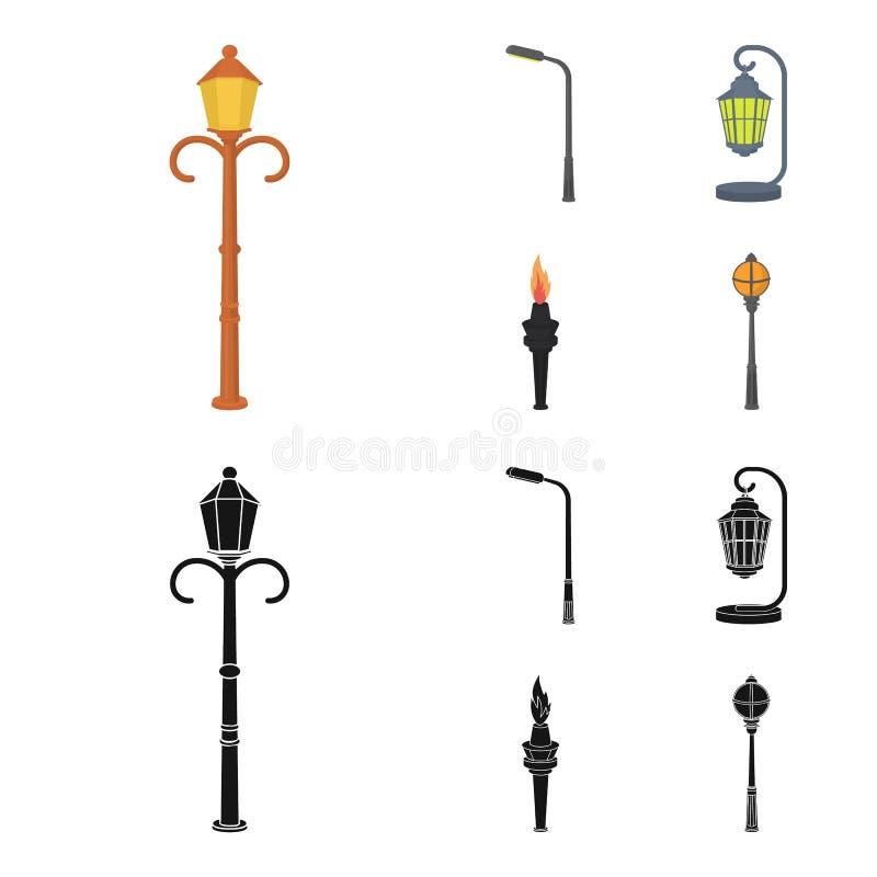 Lantaarnpaal in retro stijl, moderne lantaarn, toorts en andere types van straatlantaarns Pictogrammen van de lantaarnpaal de vas vector illustratie