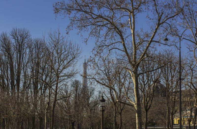 Lantaarnpalen in het park in de vroege lente in Parijs dichtbij de toren van Eiffel stock foto's