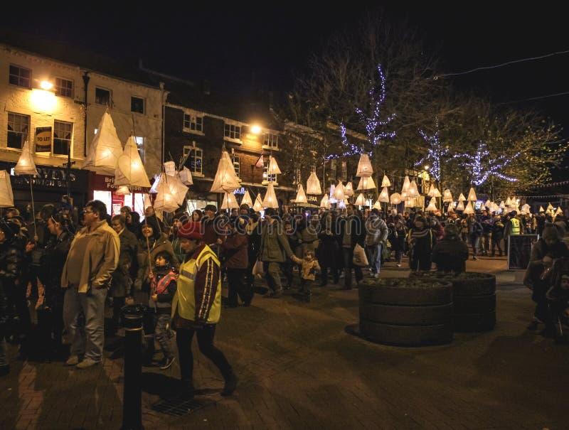 Lantaarnparade Newcastle onder Lyme het UK stock afbeeldingen
