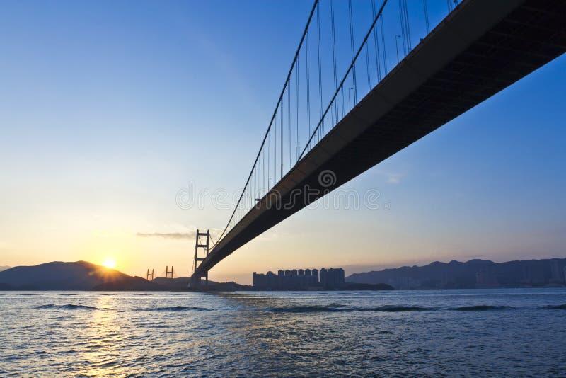Lantau Island sunset. Lantau Island and Tsing Ma Bridge winter's Sunset time stock photography