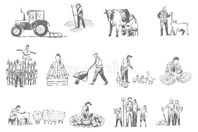 Lantbrukaffären, begreppet för lantlig ekonomi skissar vektor illustrationer