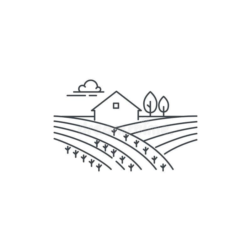 Lantbrukarhem på fältlinjen symbol Skissera illustrationen av landskapet, linjär design för vektor som isoleras på vit bakgrund vektor illustrationer