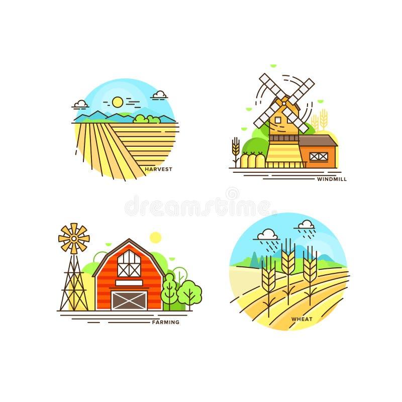 Lantbruklogosamling i linjen design Lantgårdlandskap, ladugård, väderkvarn, illustration för cropfieldvektorlägenhet som isoleras vektor illustrationer