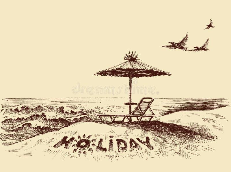 Lanterfanter en paraplu op het strand royalty-vrije illustratie