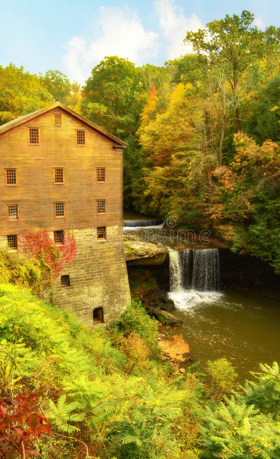 Lantermans Mill Youngstown Ohio During Autumn. Historic Lanterman's Mill surrounded by colorful foliage during Autumn. Lanterman`s Mill, located in royalty free stock photos