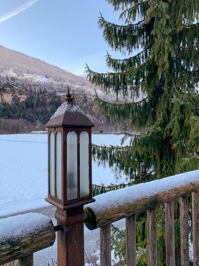 Free Lantern And The Winter Landscape In Tyrol Royalty Free Stock Images - 172290269