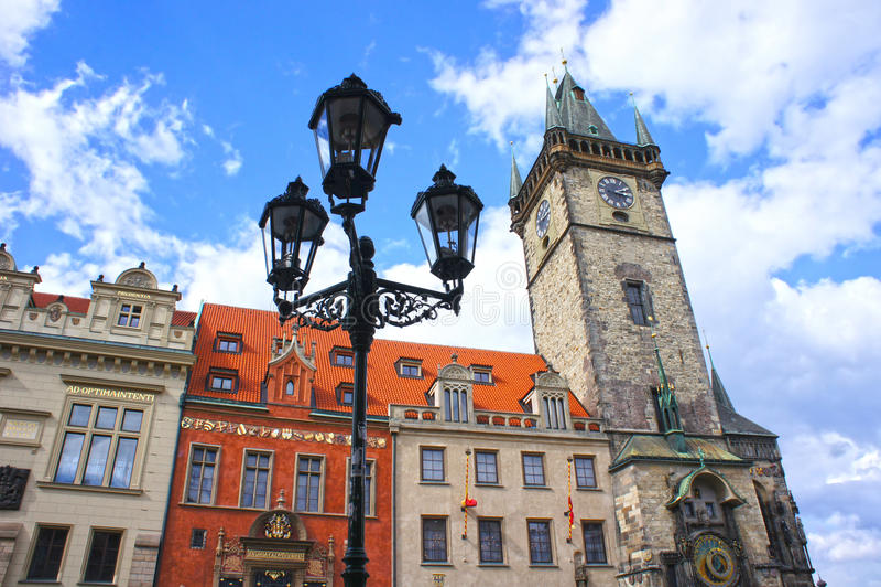 Lantern at Astronomical Clock tower in old town Prague royalty free stock image
